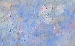 Rough texture of large brush strokes. Blue and milky sky. Oil Painting on canvas. Rough texture of large brush strokes. Blue and milky sky with clouds. Sunny Royalty Free Stock Photo