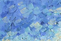 Rough texture of large brush strokes. Blue sky with clouds. Oil Painting on canvas. Rough texture of large brush strokes. Blue sky with clouds. Sunny summer day Stock Photos