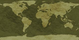 Rough-textured world map. Clay-textured world map - camouflage version Stock Photos