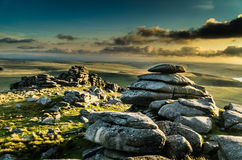 Rough Tor Sunset. Granite tor in Bodmin moor, cornwall, southwest england, uk Royalty Free Stock Photo
