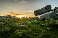Rough Tor Sunset. Granite tor in Bodmin moor, cornwall, southwest england, uk Stock Photos