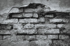 Rough town wall. Black and white color Stock Photography
