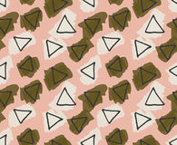 Rough triangles colored with green and yellow smudges. Hand drawn with ink and colored with marker brush seamless background.Creative hand made brushed design Stock Images
