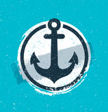 Rough Vector Vintage Anchor Icon Design Concept On Stain Background. Hand drawn vintage label with a an anchor and lettering. This illustration can be used as a Royalty Free Stock Images