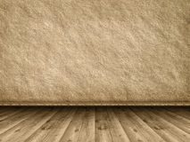 Rough wall background and wooden floor Stock Photos