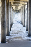 Rough water at beach under pier Stock Photography