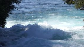 Rough waters of Huka Falls stock video