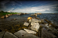 Rough Waters on the Shore of the St. Lawrence Seaw Royalty Free Stock Image