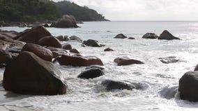 Rough waves at Anse Lazio, Praslin island, Seychelles. Rough waves at Anse Lazio at Praslin island, Seychelles stock video footage