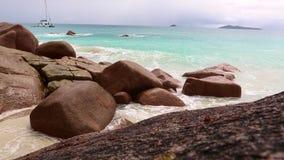 Rough waves at Anse Lazio, Praslin island, Seychelles. Rough waves at Anse Lazio, Praslin island at Seychelles stock footage