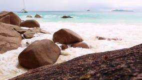 Rough waves at Anse Lazio, Praslin island, Seychelles. Rough waves at beach Anse Lazio, Praslin island, Seychelles stock video