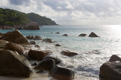Rough waves at Anse Lazio, Praslin island, Seychelles Royalty Free Stock Photos