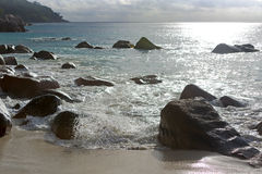 Rough waves at Anse Lazio, Praslin island, Seychelles royalty free stock image