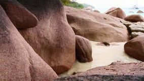 Rough waves at granites stones at Anse Lazio, Praslin island, Seychelles. Rough waves at Anse Lazio, Praslin island, Seychelles stock video footage