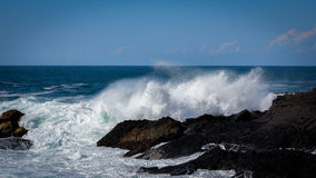 Rough waves. Hitting the rocks at Bombo Quarry, NSW, Australia Royalty Free Stock Image