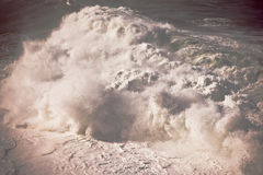 Rough weather at Bondi Beach. In Sydney, Australia with huge white crashing waves and turbulent surf Stock Images
