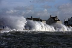 Rough weather at Trearddur Bay Stock Image