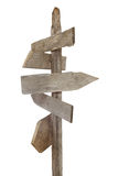 Rough wood signs on post. Rough hewn blank wood signs pointing in various directions Stock Photos