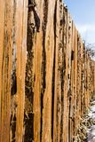 A rough wooden fence in the future royalty free stock photography
