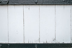 Rough Worn White Painted Wood Plank Background Framed Black Bars Stock Photo