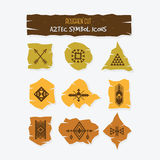 Roughen cut Aztec symbol trendy icons set Stock Photography
