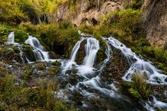 Roughlock Falls, a South Dakota Waterfall. Roughlock Falls in Roughlock Falls Natural Area in South Dakota, United States royalty free stock images