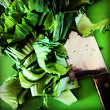 Roughly chopped greens Stock Photo