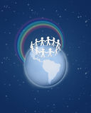 Roughly cut out paper people circle on globe. With rainbow on blue sky collage royalty free illustration
