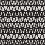 Roughly Drawn Wavy Stripes Stylish Graphic Texture. Vector Seamless Black and White Pattern Royalty Free Stock Image