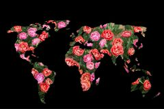Roughly outlined world map on black background. Roughly sketched out world map as global business concepts stock photo