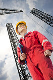 Roughneck. Arriving on board at a platform, ready for his shift Royalty Free Stock Photography