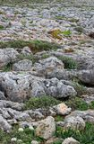 Roughy rocky terrain in Sagres, Portugal Royalty Free Stock Photos