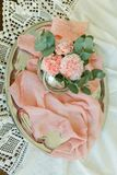 Rougissent les fleurs de l'oeillet dans une cuvette Photographie stock