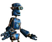 Rouillé le robot bleu à un arrière-plan blanc illustration de vecteur