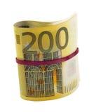 Roulé 200 euro billets de banque Images stock