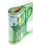 Roulé avec d'euro notes en caoutchouc Photographie stock libre de droits