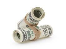 Roulé cent billets de banque du dollar attachés avec Photo libre de droits