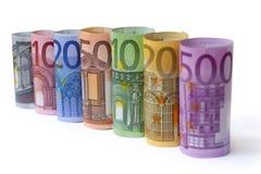 Roulé vers le haut d'euro factures Images stock
