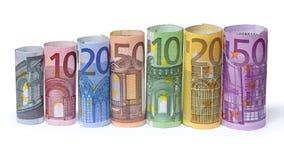 Roulé vers le haut d'euro factures Photographie stock libre de droits
