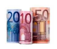 Roulé vers le haut de l'euro quatre-vingts images libres de droits