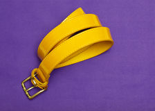 Roulé vers le haut de la ceinture de dame d'isolement sur la vue supérieure de fond violet Images stock