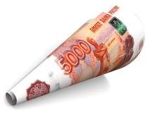 Roulé vers le haut du billet de banque russe illustration stock