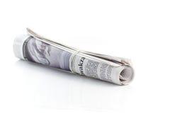 Roulé vers le haut du journal Images libres de droits