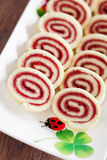 Roulade. Strawberry jam roulade, selective focus Stock Images