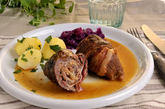 Roulade. With Potatos and red cabbage Royalty Free Stock Photography