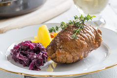 Roulade of beef with potatoes and red cabbage Stock Image