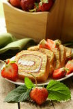 Roulade cake with cream, strawberries Royalty Free Stock Image