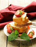 Roulade cake with cream, strawberries Stock Images