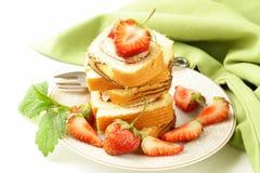 Roulade cake with cream, strawberries Stock Image