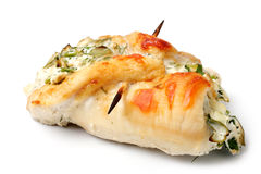 Roulade of chicken breast with cheese and herbs Royalty Free Stock Image